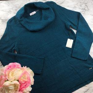 {NEW} Calvin Klein Peacock Blue Cowl Neck Sweater